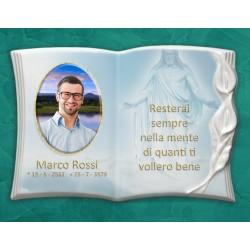 Libro Funebre in porcellana serie Calla Bianco in hd